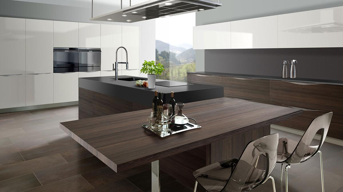 Cocina alto brillo madera Germania