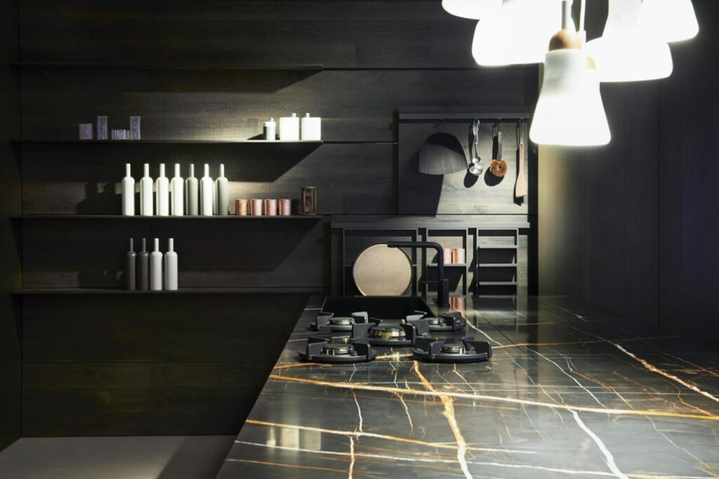 cocina con placas de gas integradas