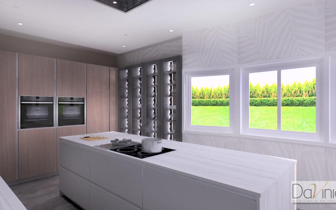 Proyectos Davinia: una cocina en Madrid en seda gris y madera de roble